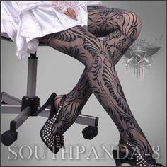 SL026 Black Glam Tattoo Punk Pants Gothic Stockings | eBay