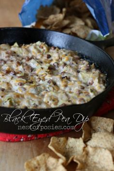 Warm & Delicious Black Eyed Pea Dip - perfect to bring you luck in the New Years or for Football parties! #Happy #New #Years #Party #Recipes