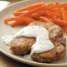 Breaded Pork Chops w/ Chive and onion cream cheese sauce [baked pork chop recipe]