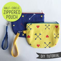 Super adorable half-circle zip pouch tutorial from Lula Louise