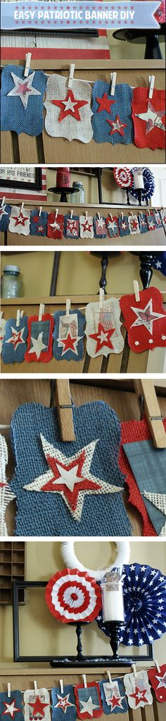 DIY No Sew Patriotic Burlap Bunting from Saved By Love Creations