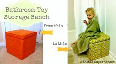 Take an ugly $10 storage cube and recover with a staple gun and 1 yard of fabric. No Sewing!
