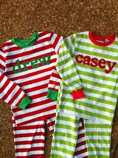 Christmas Pajamas - Personalized Christmas PJs. $28.00, via Etsy.  https://www.etsy.com/listing/111401090/christmas-pajamas-personalized-christmas