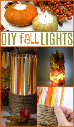 These DIY Fall Light Tutorials are the perfect way to  decorate your home for the season while staying classy. One idea is like a fall  inspired paint drip luminary with the colors of candy corn, and the other is  made with faux leaves that are adhered to a glass votive. #diy #crafts #teencrafts #projects  #diycrafts #diyprojects #fundiys #funprojects #diyideas #craftprojects  #diyprojectidea #teencraftidea #falldecor #fallcrafts #diyfallideas #fall  #autumn