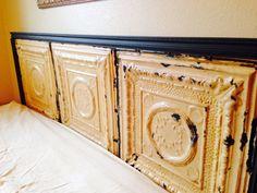 Vintage ceiling tile headboard (king) on Etsy,