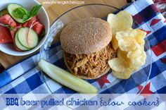 BBQ Beer Pulled Chicken in the slow cooker. #healthy #barbecue #chicken www.shrinkingkitchen.com