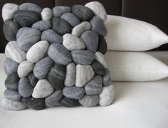 "So cute/clever. Trompe l'oeil 3D ""river rocks"" made from marbled, felted wool on a throw pillow. For the Farm."