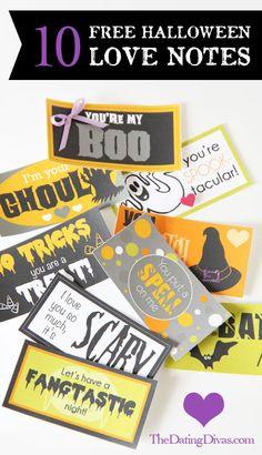 10 Free Halloween Printable Love Notes! #halloweenlove #halloween #lovenotes
