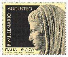 Francobollo commemorativo di Augusto Imperatore, nel bimillenario della scomparsa