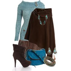 Fall Outfits – Brown & Turquoise | Fashion Trends