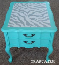 cheetah, little girls, treasur, paint, end tables, zebra print, night stand, babies rooms, girl rooms