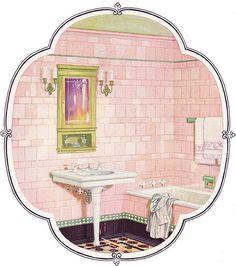 1926 Pink & Green Tile Bathroom by American Vintage Home, via Flickr