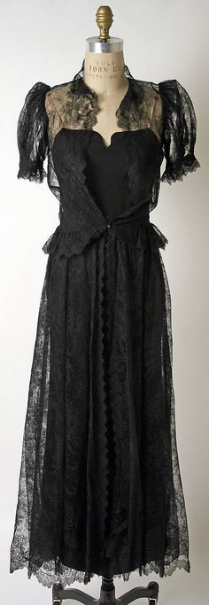 House of Paquin dress, 1936-38 black lace, evening dresses, dress fashion, 1930s fashion, 30s black, art houses, dinner dress, cotton lace, fashion model
