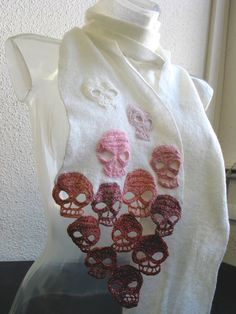calaveras by lilithhtilil on Etsy, $250.00  This scarf is entirely handmade with pure wool, knitted, crocheted, felted.