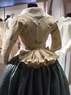 Beautiful ruffle on a Pierrot jacket - The Duchess of Devonshire's Gossip Guide to the 18th Century: Museum Exhibition: Panniers, Stays and Jabots
