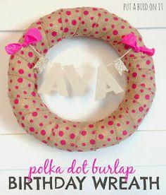 Pink Polka Dot Birthday Wreath
