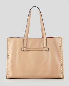 Rockstud Medium Shopping Tote Bag, Tan by Valentino