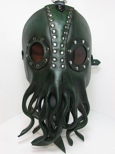 Nautical Cthulhu Mask, sculpted leather squid tentacles in green and silver with lenses. Lovecraft kraken IN STOCK