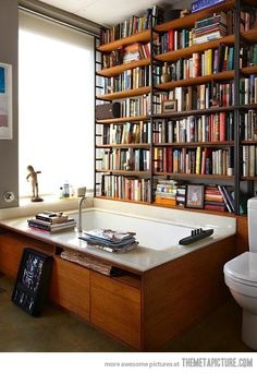 Hah!!! I often times refer to our bathroom as the library :)