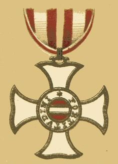 """Badge for members of the Order of Maria Theresa.  It was specifically given for """"successful military acts of essential impact to a campaign that were undertaken on [the officer's] own initiative, and might have been omitted by an honorable officer without reproach."""" This gave rise to a popular myth that it was awarded for (successfully) acting against an explicit order. It is considered to be the highest honor for a soldier in the Austrian armed services."""