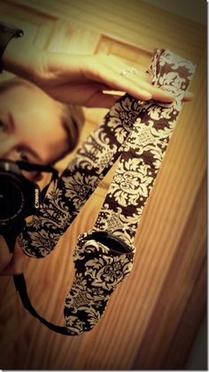 diy camera strap with lens cap holder!!!!!