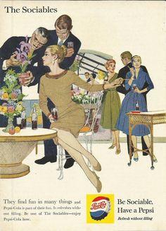Pepsi Cola Original 1964 Vintage Print Ad Color by VintageAdarama, $9.99