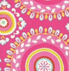 Pink Yellow and Blue Circle Fabric, Kumari Garden By Dena Designs for Free Spirit, JeevanPrint in Pink, 1 Yard. $8.50, via Etsy.