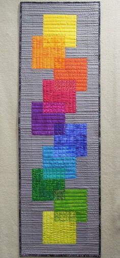 tabl runner, rainbow transpar, art quilt, wall quilts, quilt inspir, color wheels, skinni quilt, quilt studio, cross stitches