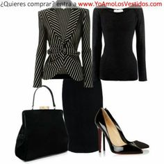 Cute outfit! Great for your first day. jacket, fashion, cloth, blazer, style, the office, pencil skirts, work outfits, black
