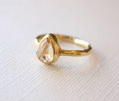 hammered gold citrine ring