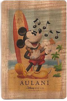 NEW Disney Aulani Mickey Mouse Koa Wood Collectible Hand made Postcard Hawaii