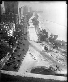 Lake Shore Drive, looking north from the Drake Hotel, July 5, 1927 (Chicago Pin of the Day, 4/10/2014).
