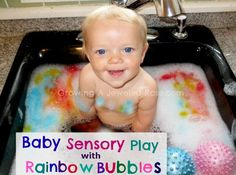 This rainbow bubble sink play is a great first sensory activity for young babies who are still putting everything in their mouth jewel rose, sensory activities, activities for kids, baby play, food coloring, babi play, sensory play, play ideas, bubble baths