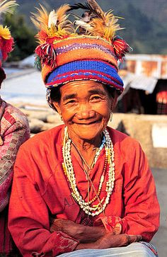 Banaue, Philippines.A old woman wearing traditional Ifugao clothing in Banaue.