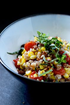 sweet corn + caramelized tomato farrotto