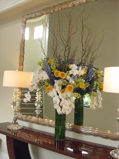 Blue Yellow and White entry way...... HUGE entry way. The vase is 24 inches tall