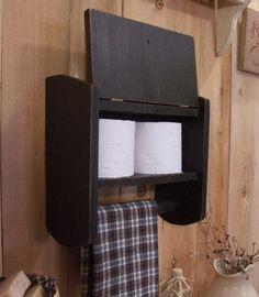 Primitive Bathroom Cabinet Towel Rack