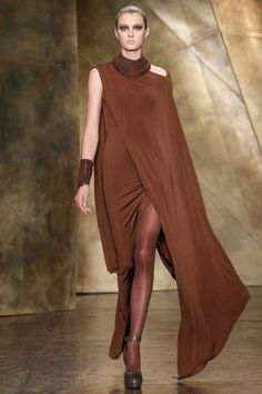 This is how you make jersey FAB Donna Karan #nyfw donna karan, 2013 readytowear, 2013 rtw, style, runway, karan fallwint, fall 2013, brown, fashion frenzi