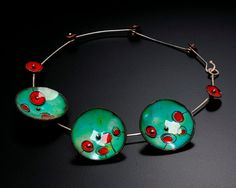 Green Enameled Disk Necklace with Red by KirstenDenbowDesigns