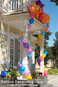 Porch Decorated for Birthday with Balloons