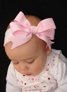 newborn baby toddler girl pink bow white by preciouslilthings, $6.50
