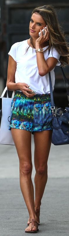 Alessandra Ambrossio in printed shorts and white tee