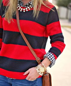 gingham, sweaters, pattern mixing, mixing patterns, statement necklaces, shirts, outfit, stripe sweater, red black