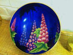 "Rare Carlton Ware Art Deco Large Delphinium hand painted bowl 10"""