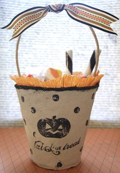 Treat tote made out of peat pots~ Make this for any holiday or birthday, event, etc.