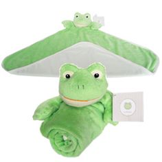 "Embroidery Blank: Frog Blankie  18"" Embroiderable Blanket w/ Frog Head & Arms  80/20 Polyester/Cotton with Jersey Backing"