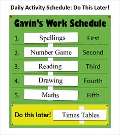 Daily schedule with a do this later optional space. visualssoci stori, special educ