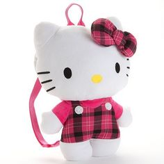Hello Kitty Plaid Plush Backpack - Thinking about getting this. :)