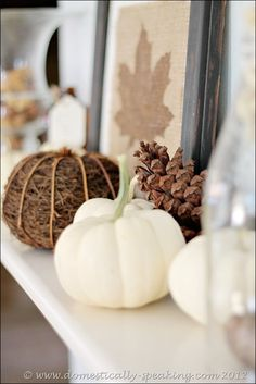 Natural Autumn Mantel ~ pretty white pumpkins, pinecones