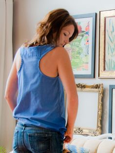 DIY sewing tutorial mens button down shirt into tank